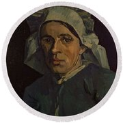 Head Of A Peasant Woman With White Cap Round Beach Towel