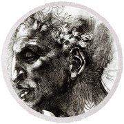 Head Of A Satyr  Round Beach Towel