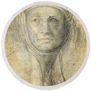 Head Of A Woman Round Beach Towel by Michelangelo Buonarroti