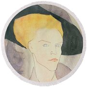 Head Of A Woman Wearing A Hat Round Beach Towel