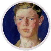 Head Of A Young Man Round Beach Towel
