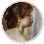 Head Of A Young Woman Round Beach Towel by Pierre Auguste Renoir