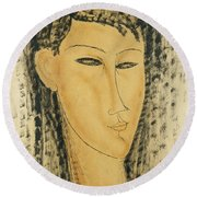 Head Of A Young Women Round Beach Towel