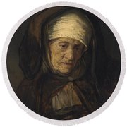 Head Of An Aged Woman Round Beach Towel by Rembrandt