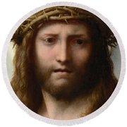 Head Of Christ Round Beach Towel