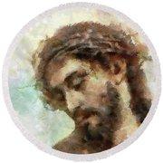The Head Of Christ Round Beach Towel