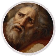 Head Of Laocoon Round Beach Towel
