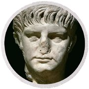 Head Of Nero Round Beach Towel by Anonymous
