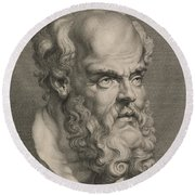Head Of Socrates Round Beach Towel by Anonymous