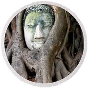 Head Of The Sandstone Buddha Round Beach Towel