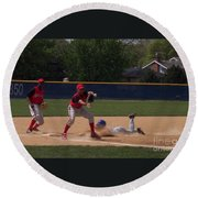 Head Slide In Baseball Round Beach Towel