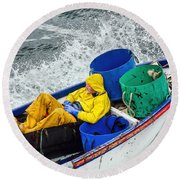 Heading Out To Sea  Round Beach Towel