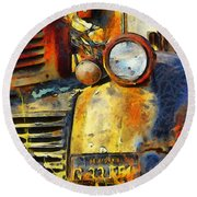 Headlight On A Retired Relic Abstract Round Beach Towel