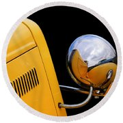 Headlight Reflections In A 32 Ford Deuce Coupe Round Beach Towel