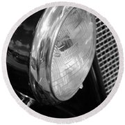 headlight205 BW Round Beach Towel