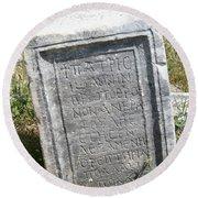 Headstone In The Basilica Church Aphrodisias Round Beach Towel