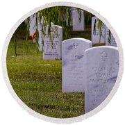 Headstones Of Arlington Cemetery Round Beach Towel