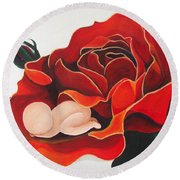 Healing Painting Baby Sleeping In A Rose Round Beach Towel
