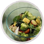 Healthy Mixed Salad Round Beach Towel