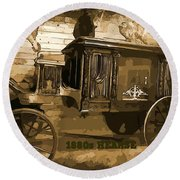 Hearse Poster Round Beach Towel by Crystal Loppie
