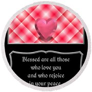 Heart And Love Design 15 With Bible Quote Round Beach Towel