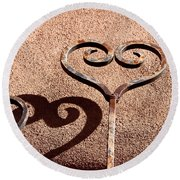 Heart And Shadow Round Beach Towel