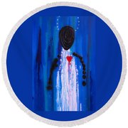 Heart And Soul - Angel Art Blue Painting Round Beach Towel by Sharon Cummings