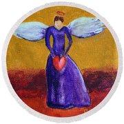 Heart Angel Round Beach Towel