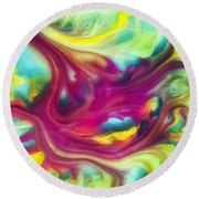 Heart Attack Watercolor Abstraction Painting Round Beach Towel
