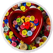 Heart Bowl With Buttons Round Beach Towel