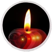 Heart Candle Round Beach Towel