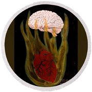 Heart Cooks Brain Round Beach Towel