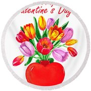 Heart Full Of Tulips Valentine Bouquet  Round Beach Towel