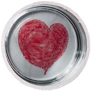 Heart In Mug Abstract 1 B Round Beach Towel