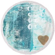 Heart In The Sand- Abstract Art Round Beach Towel