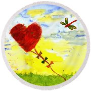 Heart Kite Round Beach Towel