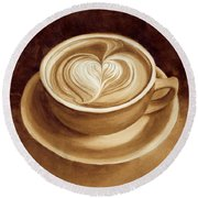 Heart Latte II Round Beach Towel