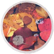 Heart Leaves Round Beach Towel