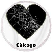 Heart Map Chicago Round Beach Towel