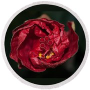 Heart Of A Hibiscus 2 Round Beach Towel