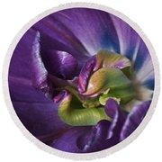 Heart Of A Purple Tulip Round Beach Towel