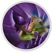 Heart Of A Purple Tulip Round Beach Towel