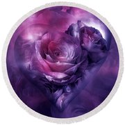Heart Of A Rose - Burgundy Purple Round Beach Towel