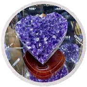 Heart Of Amethyst Round Beach Towel