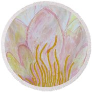 Heart Of Aqualily Round Beach Towel