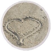 Heart Of Sand Round Beach Towel