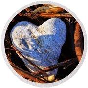 Heart Of Stone Round Beach Towel