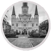 Heart Of The French Quarter Monochrome Round Beach Towel