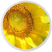 Heart Of The Sunflower Round Beach Towel