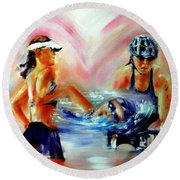 Heart Of The Triathlete Round Beach Towel